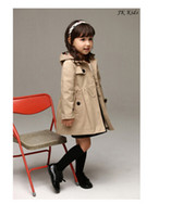 Wholesale 2014 Girls fall and winter clothes hooded windbreaker coats woolen jacket colour Beige red size