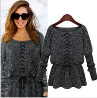 christmas jumpers - Fashion women sweaters Knitted Top Knitwear Long Sleeve Loose Jumper Pullover Tops Blouse lady clothing black gray Christmas gift