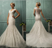 allure dress - DZ Collection Allure Mermaid Wedding Dresses For Bride with Beading Applique V Neck Tulle Court Train Bridal Gowns