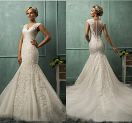 Wholesale DZ Collection Allure Mermaid Wedding Dresses For Bride with Beading Applique V Neck Tulle Court Train Bridal Gowns