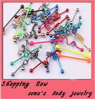 Cheap Wholesale-body piercing Free Shipping T01 wholesale 50pcs mix style mix color stainless steel tongue bar tongue industrial barbell