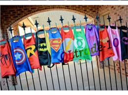 Wholesale 16 Designs cosplay Super hero Capes capes Superman Batman Spider man Super Batgirl Flash Robin for kids Party LJJA603