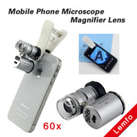 Cheap Mobile Phone Microscope Magnifier Lens 60x Optical Telescope Camera Lens with LED Light Clip for iPhone 5S 4S Samsung Universal