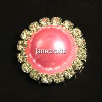 Cheap 50pcs Crystal Pearl Button Metal Rhinestone Flatback 16MM Round Wedding Embellishment Hair Bow Alloy Button Decoration Pink