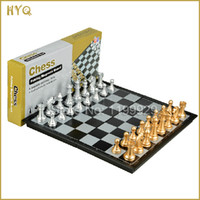 Wholesale Free Ship Golden Silver Color Portable Folding Magnetic Chess Set High Impact Plastic High Quality Chess Pieces Game