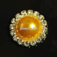 Cheap 50pcs Rhinestone Crystal Pearl Button Flatback Round Wedding Embellishment Hair Bow Alloy Button Hair Accessory Golden 21mm
