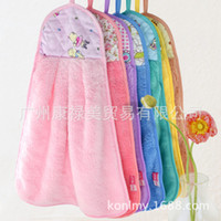 Wholesale quick dry coral velvet hanging hand towel kitchen washing strong absorption microfiber baby drying towels