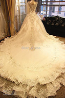 Wholesale Luxurious Shining Sheer Cap Straps Organza A Line Royal Trail Beaded Crystals Wedding Dresses Lace Applique Diamond Bridal Gowns