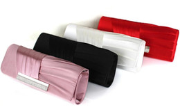 Wholesale New Arrival Bridal Hand Bags With Lace And Rhinestone Black Red Ivory Pink Modern Ruched Evening Bags