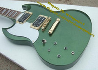 Cheap SG G400 Metal Lime Green Rosewood Fingerboard H-H 2 Pickups Gold Hardware 22 Frets Trapezoid Fingerboard Inlay Electric Guitar No.0004-353