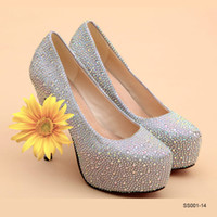 Cheap Top Quality Prom Party Shoes 2015 Cheap Platform High Heels Sliver Wedding Shoes Crystals Cute 14 cm Women's Bridal Lady Sexy Rhinestone