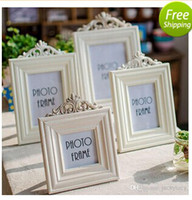 Cheap Retro Creative Solid Wood Photo Frame European Styles White Picture Frames For Home Table Decor Wall Hanging Art Supplies