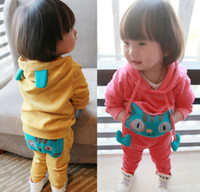Wholesale Baby Girls Set Girls Velour Long Sleeve Cartoon Cat Printed Hoodies Long Pants Set Kids Tracksuit Clothing Pink Yellow M1291