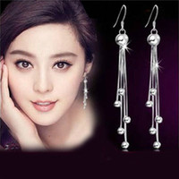 Cheap Fashion Jewelry 925 Sterling Silver Tassels Hook Ball Long Dangle Earrings Earring Pendant