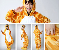 Wholesale Giraffe Kigurumi Pajamas Animal Suits Cosplay Halloween Costume Adult Garment Cartoon Jumpsuits Unisex Animal Sleepwear