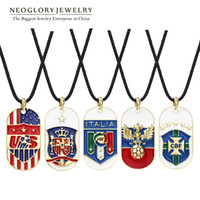 Wholesale Neoglory K Gold Plated Alloy Enamel Rope Chain Necklaces Pendants for Women Men Sporty Jewelry Football Game NEW