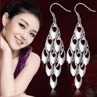 Cheap Jewelry 925 Sterling Silver Tassels Peacock Tail Shape Hook Long Dangle Earrings Earring