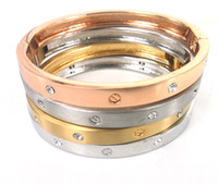 Wholesale high quality alloy screw nut and crystal dress bangle women love cuff bracelet bangle