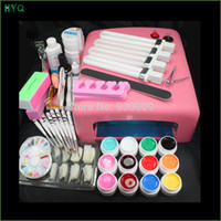 Wholesale Pro W UV GEL Pink Lamp nail set Color UV Gel Nail Art Tools Kit Set