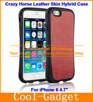 Wholesale Anti Shock Crazy Horse Leather Skin SGP Hybrid Tough Armor Case Cover for iPhone G Plus G S S case film IP6C52