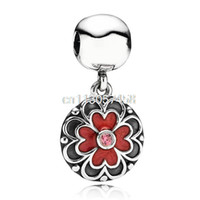Wholesale Enamel Flower Clips Pendant Pink Crystal Style Sterling Silver European Personalized Bead Charm Jewelry For Snake Bracelet up