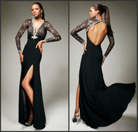 Wholesale Elegant Long Sleeves Black Lace and Nude Evening Dresses For Women Prom Gowns With High Slit