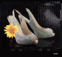 Cheap In Stock Wedding Dancing Peep Toe Shoes Cheap Crystals High Heels 14 cm Beaded Women's Shoes Sexy Rhinestone Prom Party Bridal Lady 2015