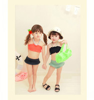 Cheap EMS DHL Free shipping Baby Girl Hot Spring Bathing Suit Body Wrapped Chest 2 Piece Suit Girls Swimwear Swimsuit For Children