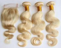 Cheap Blonde brazilian wave closure Best 100g Body Wave 613 closure bundle
