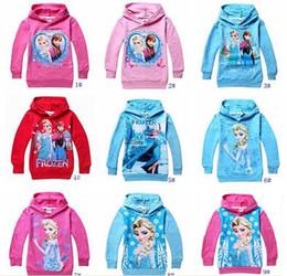 Wholesale New Baby girls Hoodies Frozen outerwear Children Long sleeve fashion t shirt Kids apparel Cartoon hooded sweatshirts