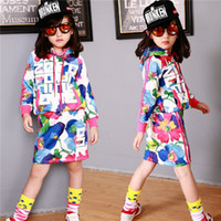 Cheap 2014 Autumn Style 2 PCS Skirt Outfits,Children Big Girls Long Sleeve Letter Print Colorful Hooded Sport Skirt Outfits,Top+Skirt,5 Sets Lot