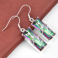 Cheap 2PCS 1Lot Holiday Jewelry Gift--Lucky Stone Square Mystic Topaz 925 Silver Drop Earrings E0165