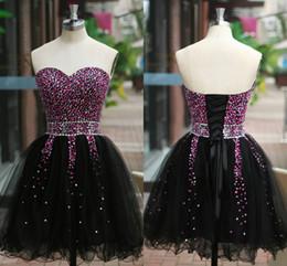 Wholesale 2014 Little Black Organza Graduation Dresses Sweetheart Lace Up Back Sequins Beads Pleats Mini Short Crystal Prom Cocktail Dresses SU04