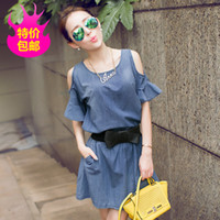jean dresses and skirts - Europe station new European and American women s fashion denim jean skirt beaded loose short sleeved dress women