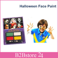 Wholesale 4 Colors Waterproof Halloween Face Paint Non toxic Children Face and Body Paint with Blister Package