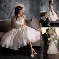 beautiful tea length dresses - 2014 Beautiful Church Wedding Dresses A Line Tea Length Sash Applique Lace Sheer Bridal Gowns Short Sleeve Custom Backless Covered Button