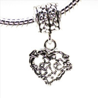 beads best friends costumes - Hot Best friend Heart Shape Sterling Silver European Bead Charm Costume pendant Jewelry For Snake Bracelet Chain up