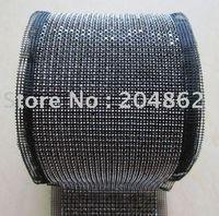 fabric mesh - yards Row SS19 Crystal bridal trim with Jet Black Rhinestones Sliver Metal Cup and Black Fabric Mesh