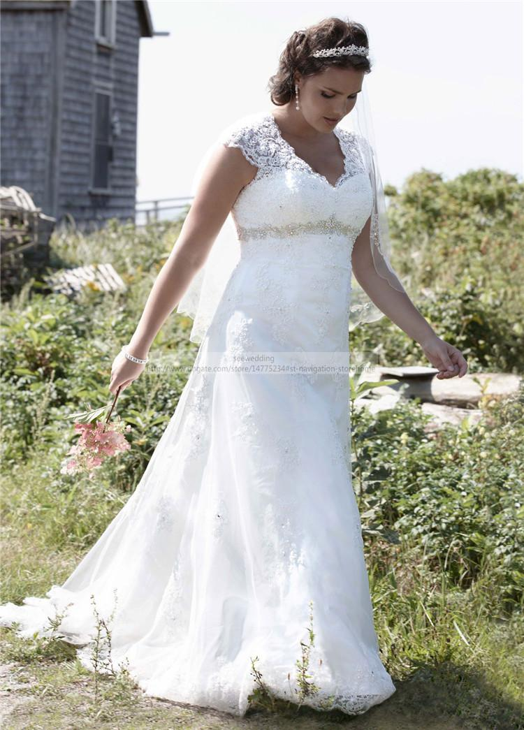 Vintage plus size lace wedding dresses empire waist v neck for Empire waist plus size wedding dress