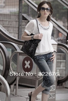 Cheap Free Shipping Women's Plus Size Sequins Embellished Round Collar Chiffon Blouse White WD12031601 XXL