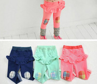 Cheap Free shipping 5pc lot New Fashion Ruffles Plaid Patch Cotton Girls Leggings With Pocket Skirt Children Long Pants with skirts