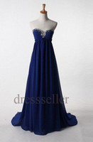 Cheap Real Picture Navy Blue A-line Sweetheart Simple Cheap Prom Dresses Beads Long Custom Plus Size Evening Gown