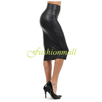 Wholesale NEW Autumn Summer Faux Leather Pencil Skirt Black Leather skirt S M L High Quality Casual High Waisted skirt SV00249
