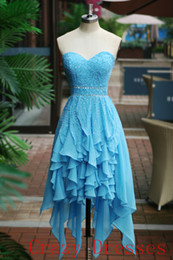 Wholesale 2015 Brt Blue Homecoming Dresses Sweetheart A Line Zipper Chiffon Sleeveless Beading Beads Tiers Hi LO Pageant Party Cocktail Dresses Faith