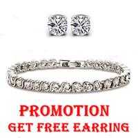 austria jewelry - Shinning Austria Crystal Tennis Bracelet SWA Elements Sterling Silver Jewelry Platinum Plated HK POST OB16