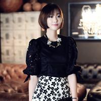 Cheap Korea stylenanda retro hollow carved lantern sleeve shirt embroidered Dongdaemun Shopping ladies shirt