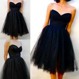 Wholesale Sexy Black Tulle Short Party Dresses with Ruched Sweetheart Sleeveless A Line Knee Length Cocktail Dress Hot Selling Short Prom Dress