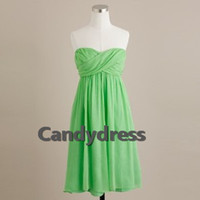 Cheap Lime green empire waist chiffon knee-length bridesmaid dress