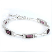 allergy bracelet - Luxury Gift Amythest Crystal Bracelet Sterling Silver with Platinum Plated Allergy Free OB17