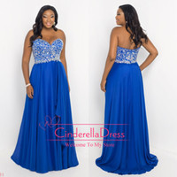 plus size evening dresses - 2014 Sexy Royal Blue Sequins Crystals Ruched Plus Size A Line Sweetheart Floor Length Pageant Dresses Prom Gown Evening Dresses W SSJ